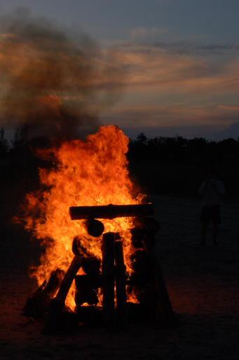 Огън на плажа в Приморское